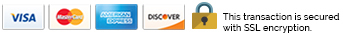 Visa, MasterCard, Amex, Discover. This transaction is secured with SSL encryption.